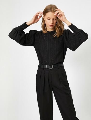 Koton Dantel Detayli T-Shirt Siyah